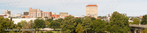 Poster Texas Long Panoramic View of Riverfront and Downtown San Angelo Texas
