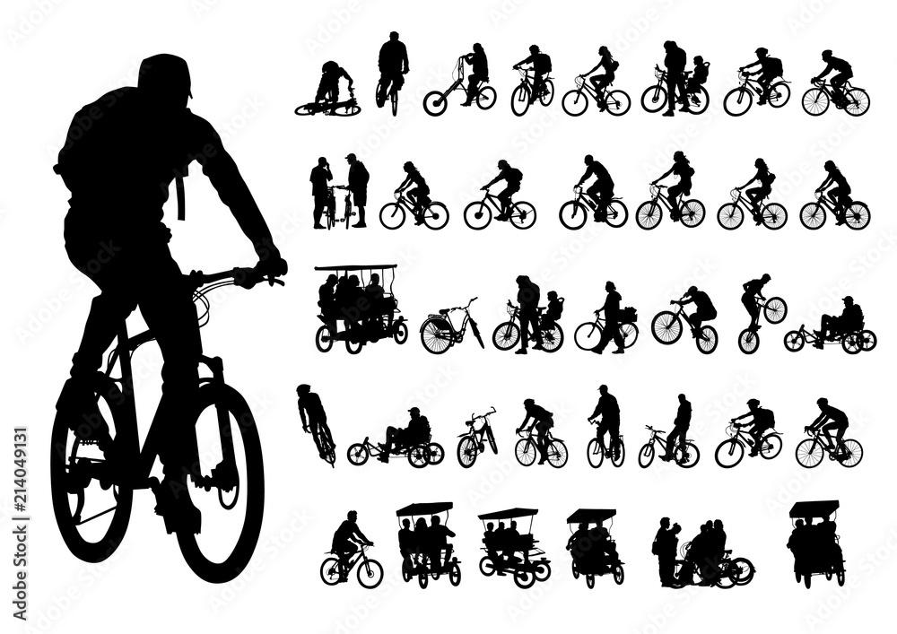 Fototapeta Sport people whit bike on white background