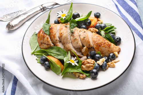Chicken breast and fresh berry salad