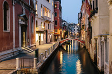Famous Venetian Channels At Night. Venice, Italy.
