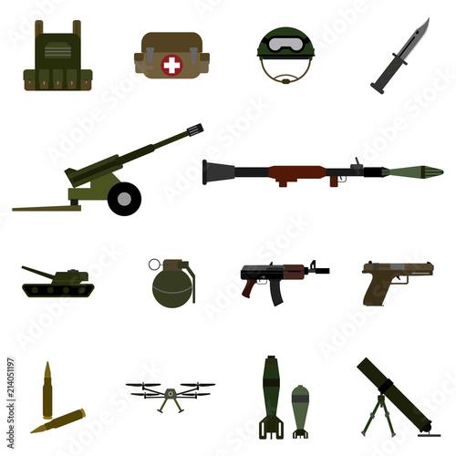 14 military color icon set vector Wallpaper Mural