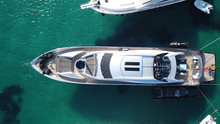 Aerial Photo Of Yachts Docked In Popular Tropical Caribbean Island Destination