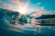 canvas print picture - Teal orange sea wave
