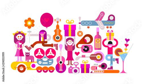 Staande foto Abstractie Art Celebration party vector illustration