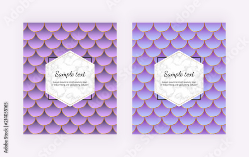 Modern Covers With Mermaid Scales Blue And Violet Tail Marble Texture Golden Lines Trendy Backgrounds For Birthday Invitation Banner
