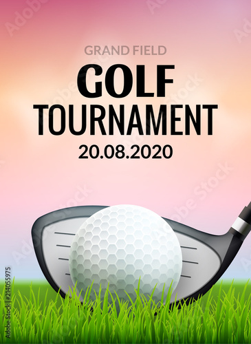 Golf tournament poster template flyer. Golf ball on green grass for competition. Sport club vector design © kolonko