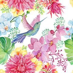 FototapetaSeamless pattern of bird Hummingbird and tropical flowers. illustration by watercolor