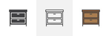 Chest Of Drawers Icon. Line, S...