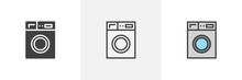 Washing Machine Icon. Line, Solid And Filled Outline Colorful Version, Outline And Filled Vector Sign. Laundry Symbol, Logo Illustration. Different Style Icons Set. Pixel Perfect Vector Graphics