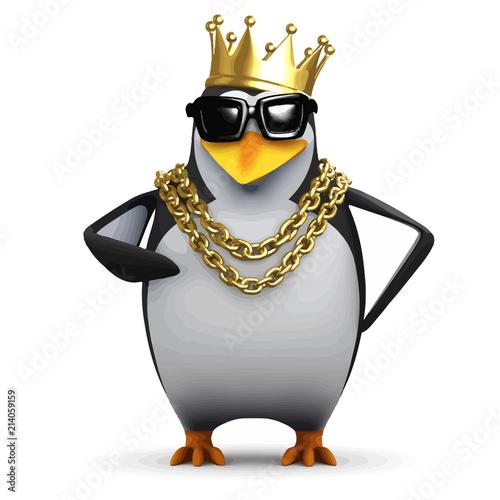 Fototapeta premium Wektor 3d Pingwin raper nosi złotą koronę