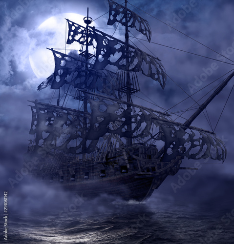 Tuinposter Schip Pirate Ghost Ship Flying Dutchman