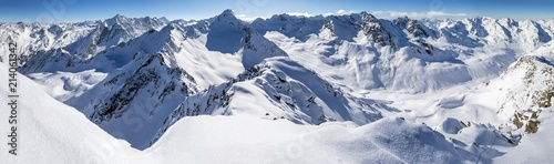 Winter panorama from the Zischgeles, Stubai Alps, Tyrol, Austria, Europe