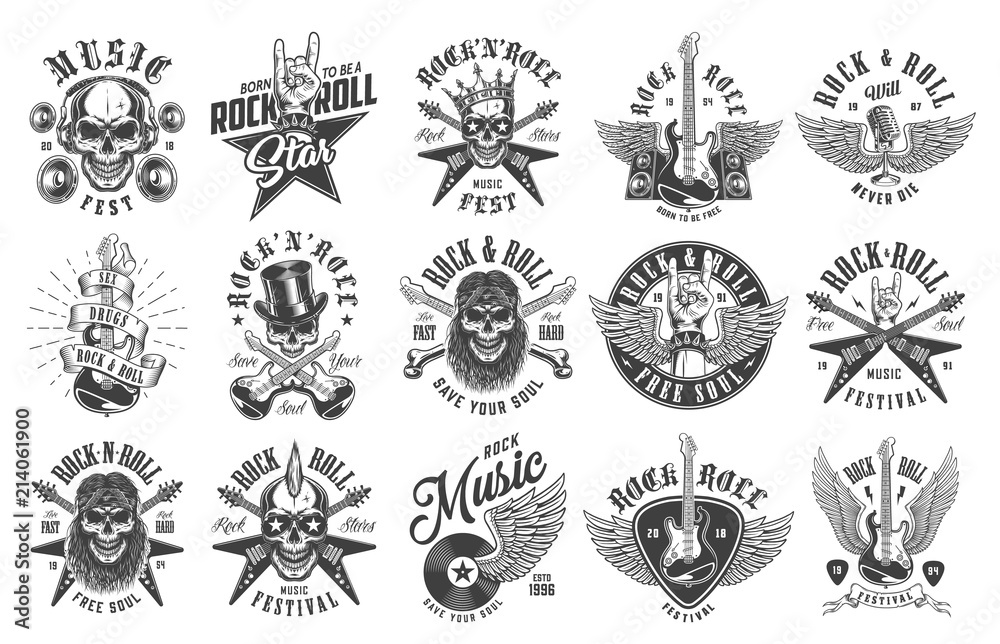Fototapety, obrazy: Rock and roll emblems
