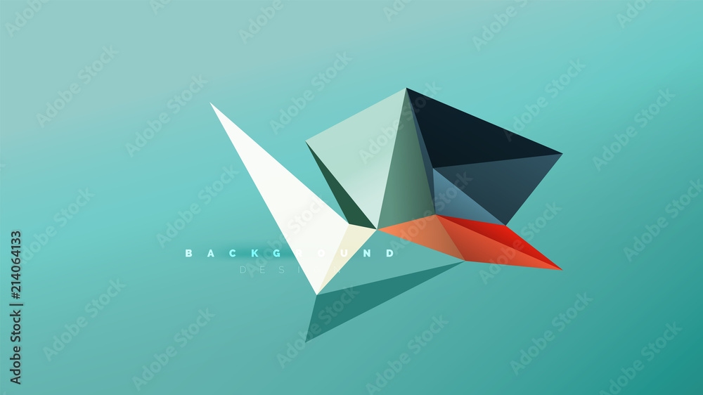 Fototapeta Abstract background - geometric origami style shape composition, triangular low poly design concept. Colorful trendy minimalistic illustration