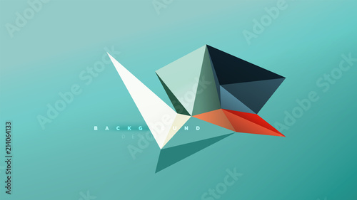 Abstract background - geometric origami style shape composition, triangular low poly design concept Wallpaper Mural