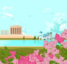 Greek Architecture Landscape Vector Backgrounds