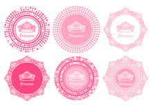 Vector Set Princess Sign With Tiara On Frame With Curls Pink Hand Drawn.