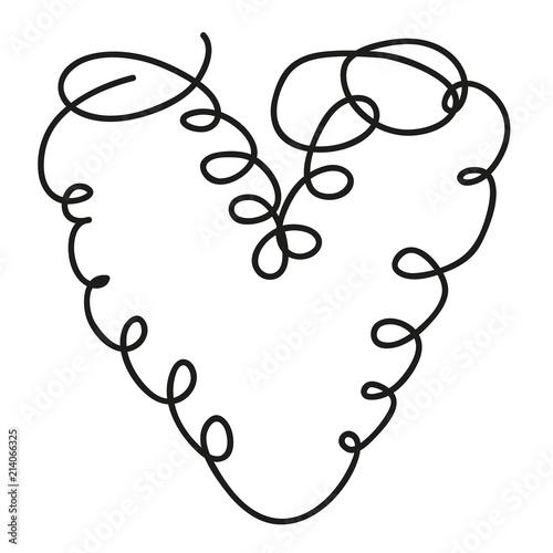 Fotografia  Herz aus einer Linie, Tattoo, Zeichnung, Symbol