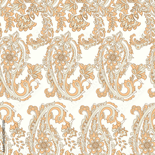 Fotografía  Paisley Vector Pattern. Seamless Asian Textile Background