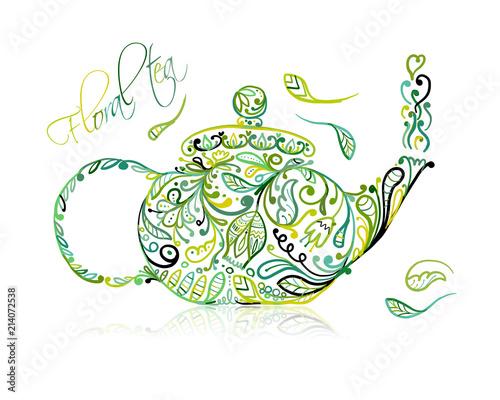 Obraz na plátně Teapot sketch with green tea for your design