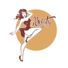 Sexy And Beauty Retro Pinup Girl And Lettering Beauty For Your Logo Or Label Design