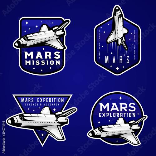 Mars mission blue logos, set of Mars themed labels Fototapeta