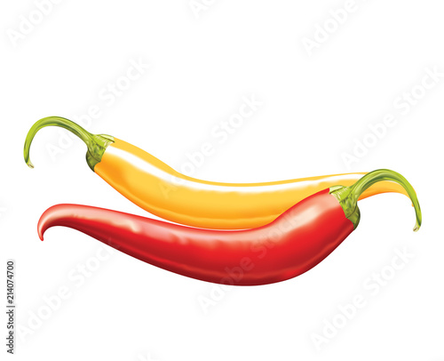 Obraz na plátně Red and Yellow fresh chilies on white background