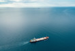 canvas print picture - View from the top down by cargo ship passing by, Black Sea, Crimea