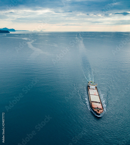 Fotografía  View from the top down by cargo ship passing by, Black Sea, Crimea
