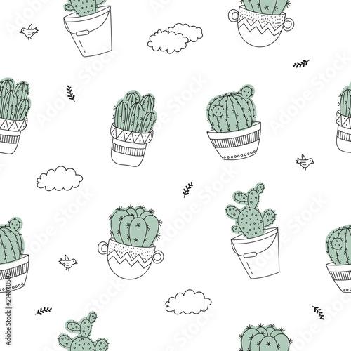 wektorowy-bezszwowy-wzor-z-kreskowego-rysunku-domu-roslina-w-flowerpot