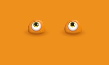 Abstract Monochrome Background With Funny Stylized 3d Eyes Vector