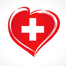 Love Swiss Emblem With Heart In National Flag Color. National Holiday In Switzerland 1 August 1291, Vector Greetings Card. Celebration Swiss Confederation Anniversary Of Foundation Date
