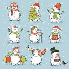 Funny Snowman Set With Winter ...