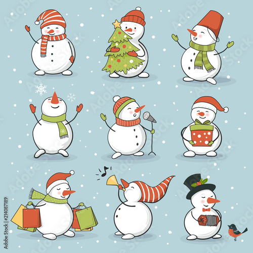 Funny snowman set with winter and holiday accessories Fototapeta