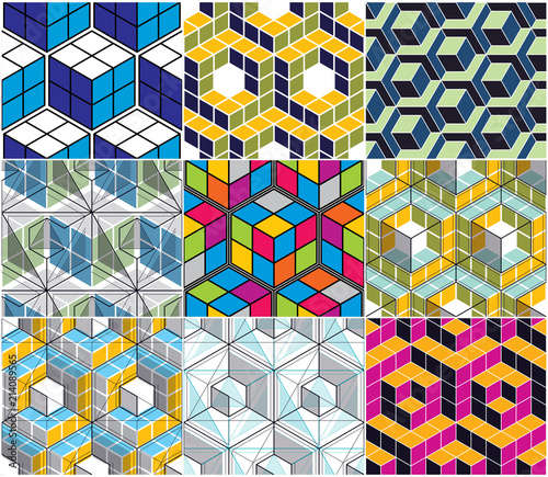 Geometric 3d Lines Abstract Seamless Patterns Set Vector
