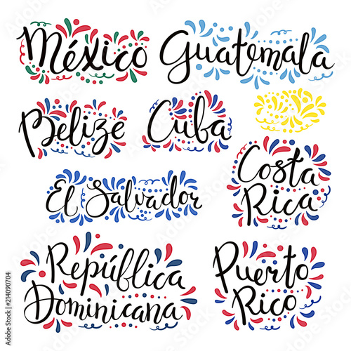 Set of hand written calligraphic lettering quotes with Latin American countries names, decorative ornament Canvas Print