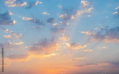 Fototapeta dramatic cloudscape in the twilight with sunset sunrise  obraz na płótnie