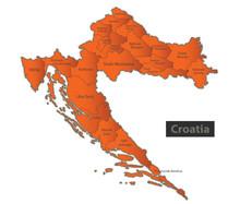 Croatia Map Orange Separate Re...