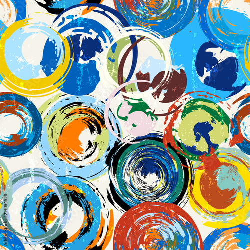seamless abstract background pattern, with circles, paint strokes and splashes