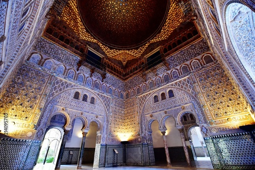 Poster Artistic monument Hall of Ambassadors (Dome of Salon de Embajadores) in the Royal Alcazar of Seville, Andalusia, Spain.