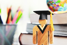 Back To School Concept, People Sign Wood With Graduation Celebrating Cap Blur Pencil Box, Show Alternative Studying. Online Graduate Or Education Knowledge Learning Study Abroad International Ideas.