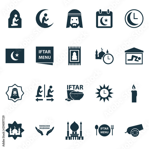 Ramadan icons set with rug, candle, azan human