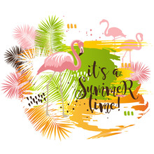 Summer Tropical Poster With Palm Leaves And Flamingo