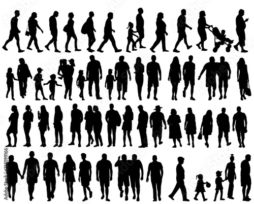 vector, isolated, set of silhouettes people go, collection Fototapete