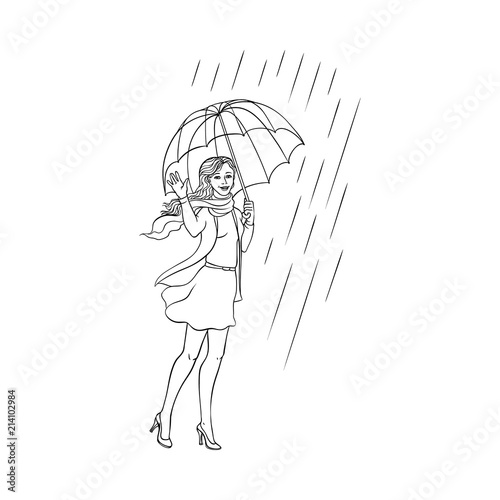 Vector sketch cartoon young woman, monochrome cute girl in ...