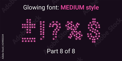 Pink Glowing font in the Outline style Canvas-taulu