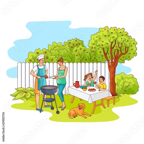 Aluminium Prints River, lake Hand drawn family at barbeque garden party . Sketch Man, father cooker standing near bbq grill preparing meat steak, mother takes food for son, daughter sitting at table under apple tree with dog near