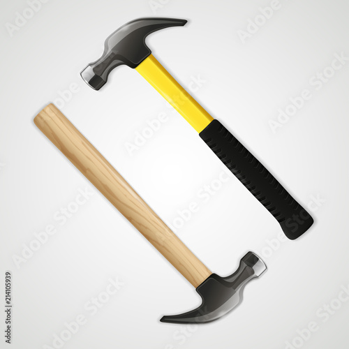 Realistic hammer icon, isolated on white background Canvas Print