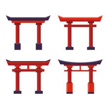 Japanese Gate Icons Set On White Background. Vector