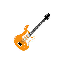 Electric Guitar Black With Jack Cable Audio Wire. Hand Drawn Rock Music Attribute, String Instrument Icon. Isolated Vector Illustration On A White Background.
